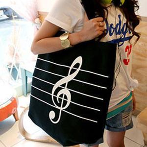 【时尚休闲 包邮】高音符号帆布包条纹单肩环保购物袋